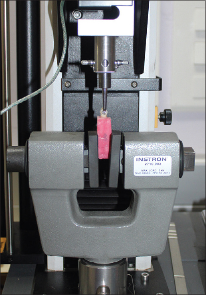 Figure 5: Shear bond strength testing in Universal Testing Machine